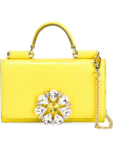 DOLCE & GABBANA Miss Sicily Medium Lizard-Stamped Satchel Bag, Yellow at Farfetch