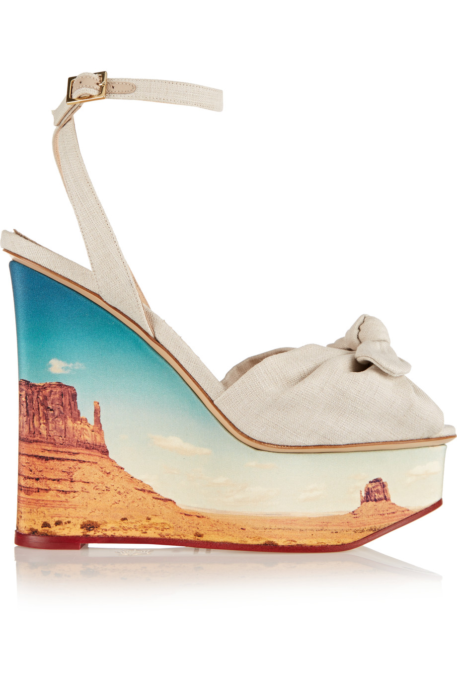 CHARLOTTE OLYMPIA Panoramic Miranda Canvas Wedge Sandals at THE OUTNET.COM