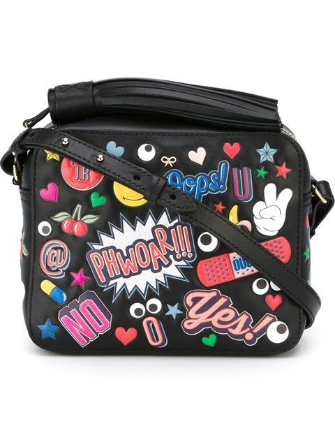 ANYA HINDMARCH Crossbody All Over Wink Stickers Bag In Black Circus Leather at Farfetch