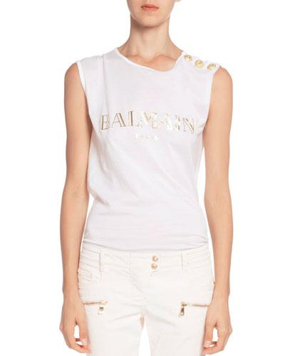 BALMAIN Logo Cotton Jersey Sleeveless Top, White at BERGDORF GOODMAN