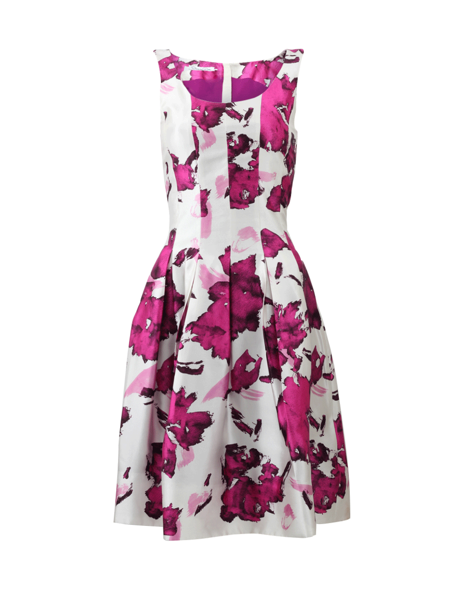 OSCAR DE LA RENTA Watercolor Floral-Print Mikado Cocktail Dress, Magenta at Marissa Collections