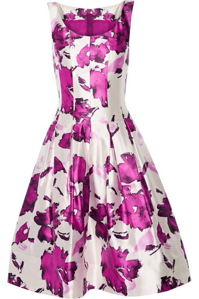 OSCAR DE LA RENTA Watercolor Floral-Print Mikado Cocktail Dress, Magenta at NET-A-PORTER