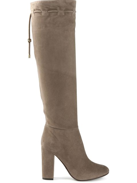 LANVIN Knee High Suede Boots In Mastic at Farfetch