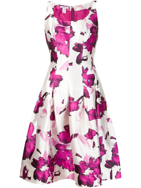 OSCAR DE LA RENTA Watercolor Floral-Print Mikado Cocktail Dress, Magenta at Farfetch