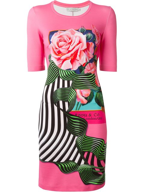 MARY KATRANTZOU 'Rose Fuschia' Shift Dress at Farfetch