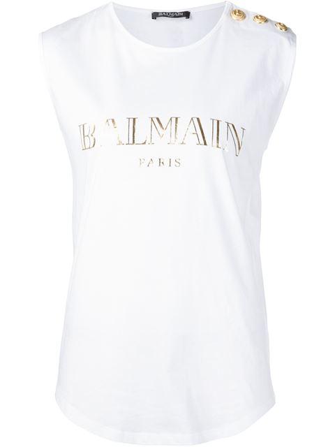 BALMAIN Logo Cotton Jersey Sleeveless Top, White at Farfetch