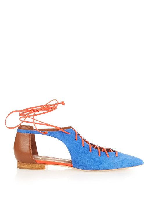 MALONE SOULIERS Montana Lace-Up Suede Point-Toe Flats
