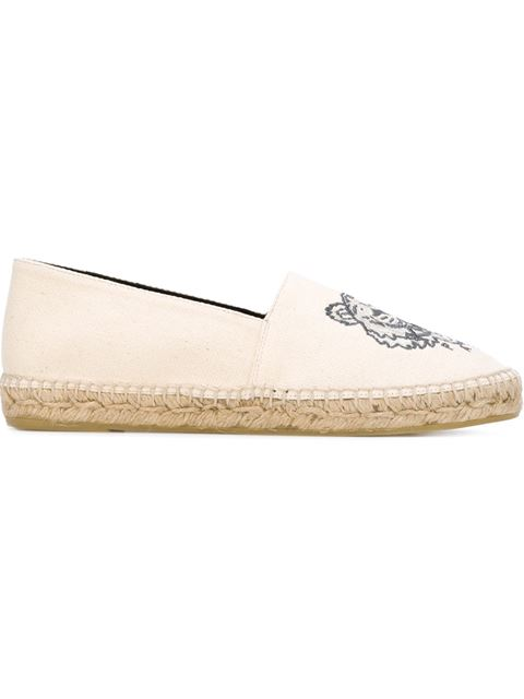 KENZO Tiger-Embroidered Canvas Espadrilles in Mastic