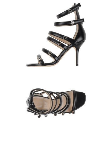 CHRISTOPHER KANE Crystal-Embellished Multi-Strap Leather Sandals at yoox.com