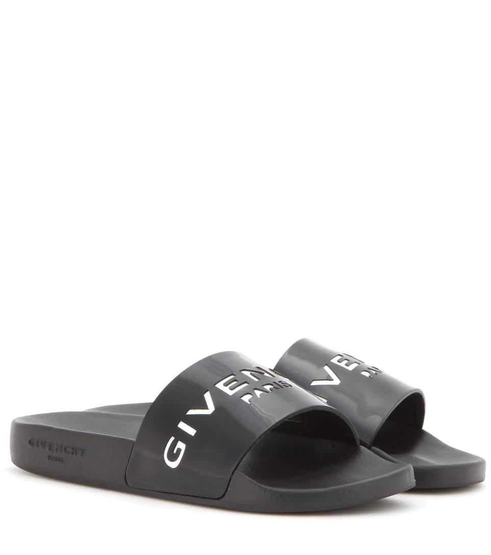 GIVENCHY 20Mm Logo Embossed Rubber Slide Sandals, Black at mytheresa.com