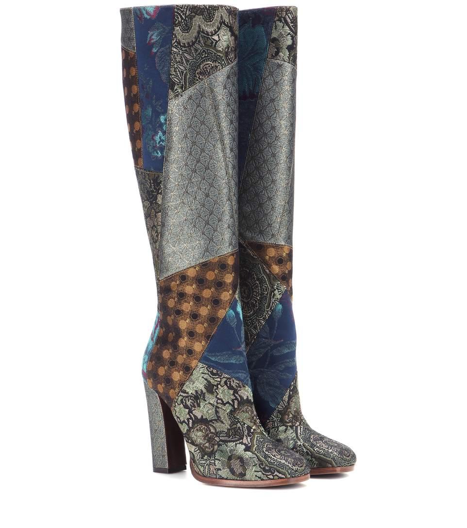 ETRO Metallic Jacquard Knee-High Boots
