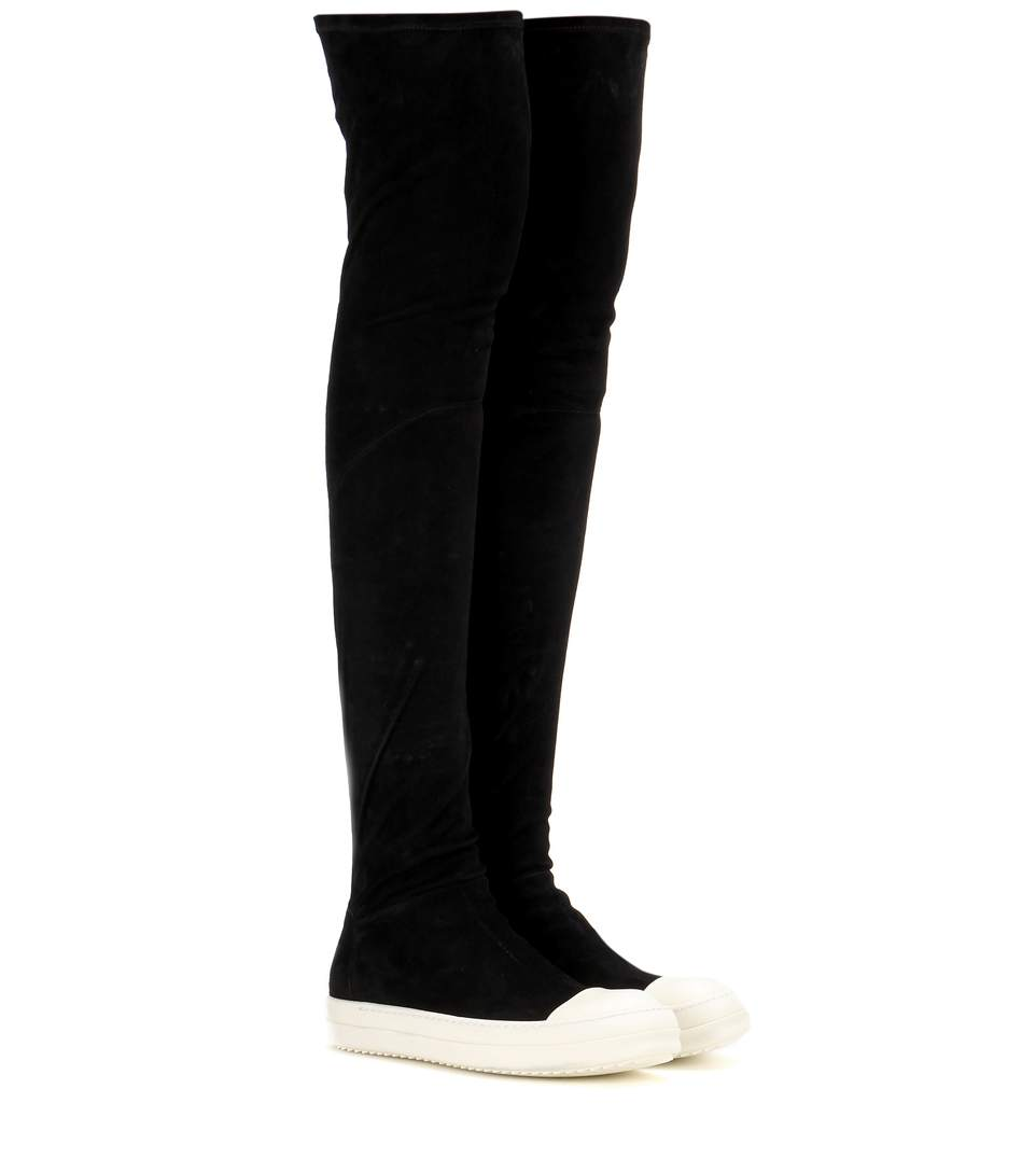 RICK OWENS Over The Knee Stretch Leather Sneakers, Black/White at mytheresa.com