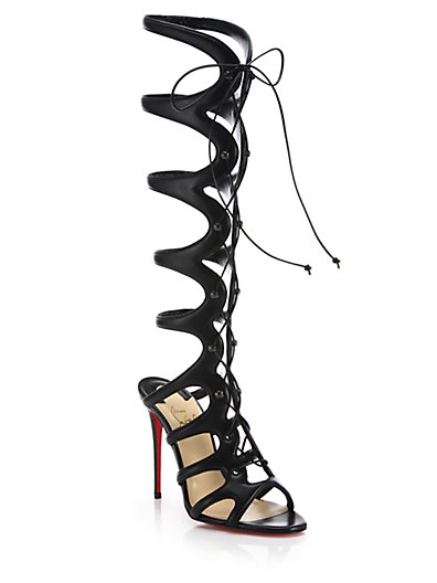 CHRISTIAN LOUBOUTIN Amazoula 100Mm Leather Tall Gladiator Red Sole Sandal, Black at Saks Fifth Avenue