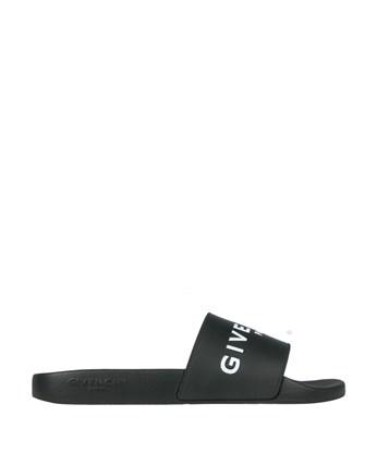 GIVENCHY 20Mm Logo Embossed Rubber Slide Sandals, Black at L'INDE LE PALAIS