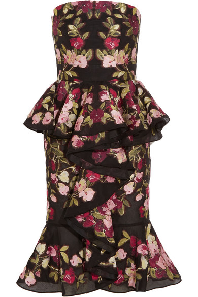 ALEXANDER MCQUEEN Ruffled Embroidered Organza Peplum Dress