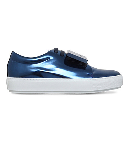 ACNE STUDIOS Adriana Metallic-Leather Low-Top Trainers in Blue