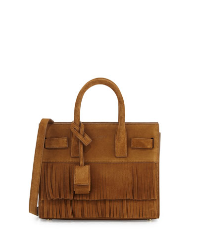 SAINT LAURENT Sac De Jour Nano Suede Fringe Satchel Bag, Light Ochre at BERGDORF GOODMAN