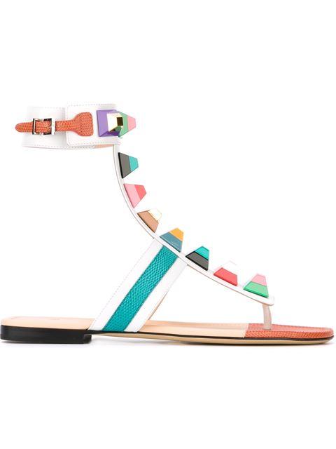 FENDI Rainbow Stud-Embellished Leather Sandals at Farfetch