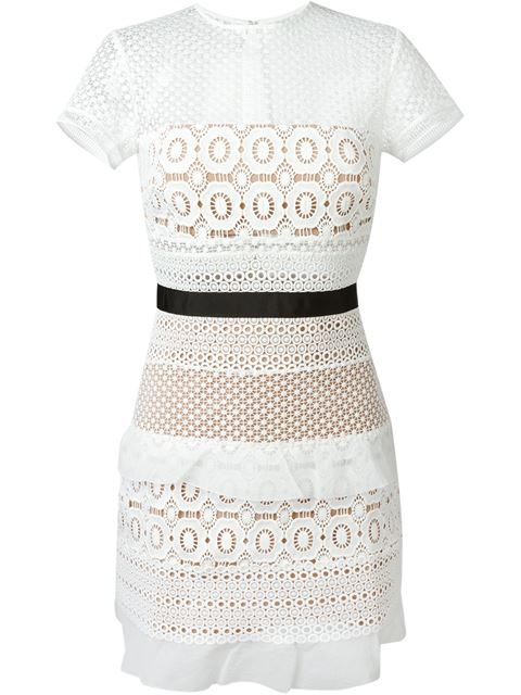 SELF-PORTRAIT Striped Floral Lace Mini Dress, White/Black
