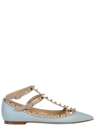 VALENTINO Rockstud Patent Leather Cage Flats at Italist.com