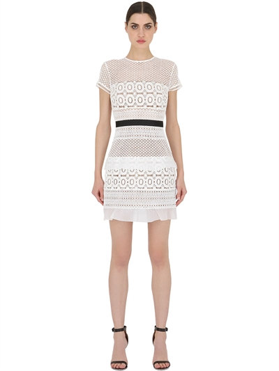 SELF-PORTRAIT Striped Floral Lace Mini Dress, White/Black at LUISAVIAROMA