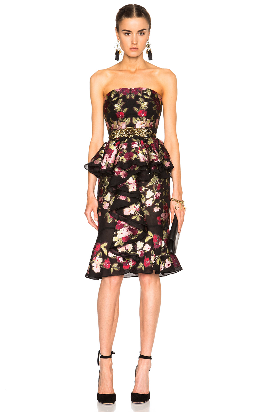 ALEXANDER MCQUEEN Ruffled Embroidered Organza Peplum Dress at FORWARD
