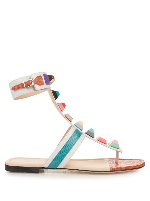 FENDI Rainbow Stud-Embellished Leather Sandals in White