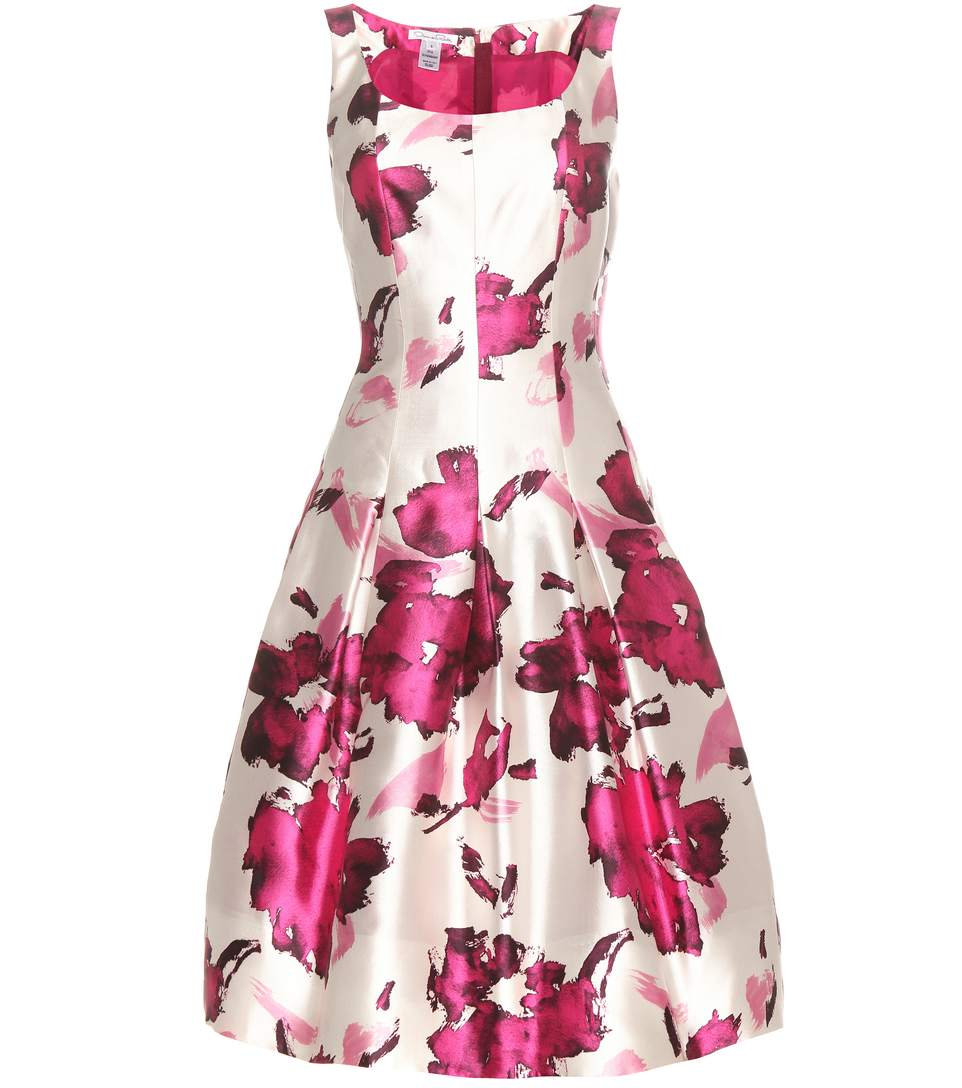 OSCAR DE LA RENTA Watercolor Floral-Print Mikado Cocktail Dress, Magenta at mytheresa.com