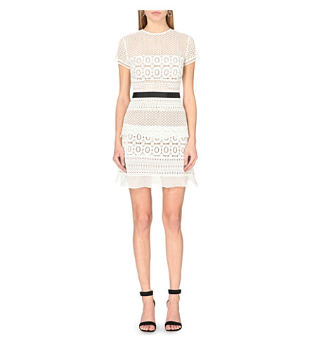 SELF-PORTRAIT Striped Floral Lace Mini Dress, White/Black at Selfridges