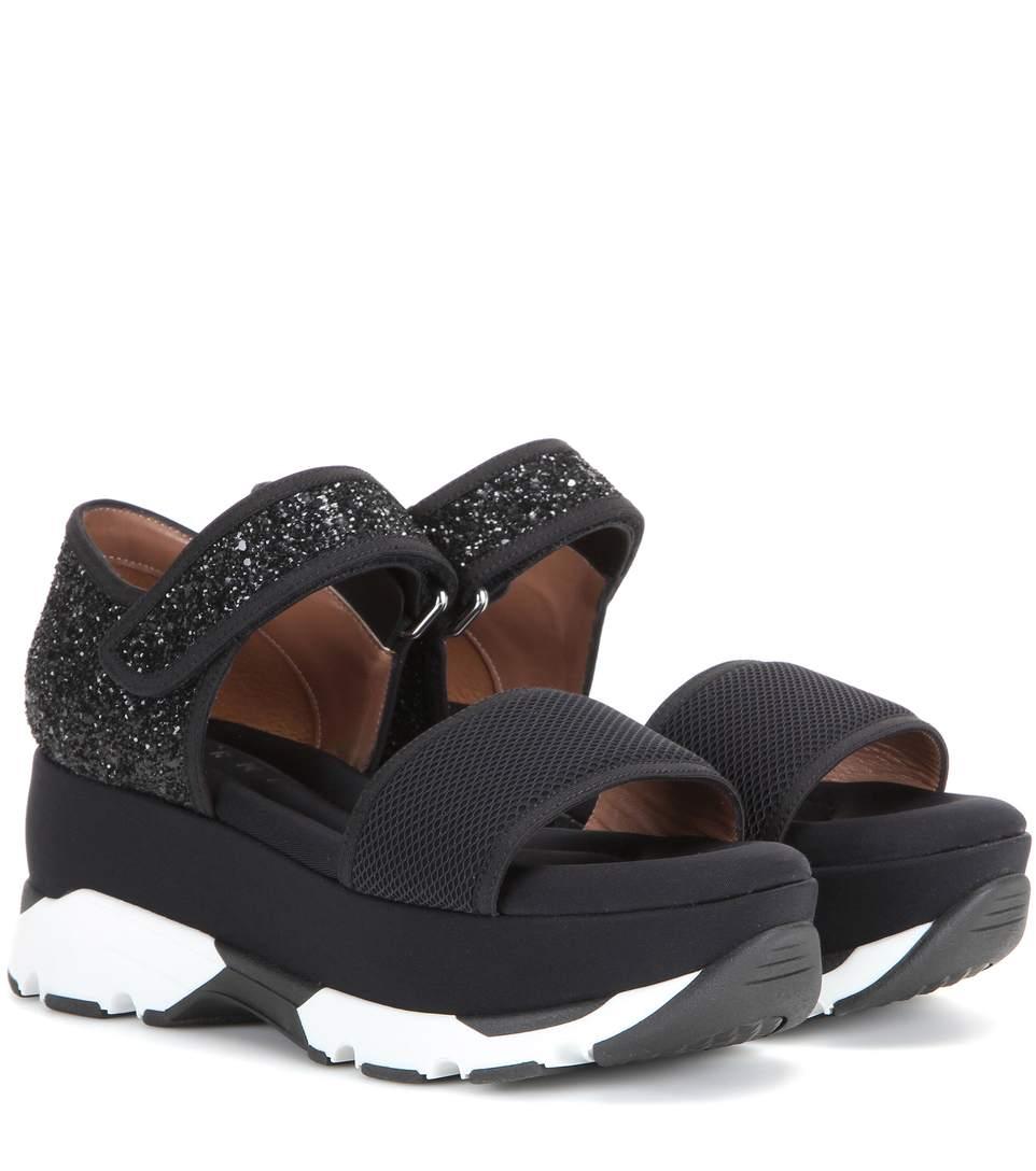 Black mesh sandals - Marni Platform Sandals With Leather Mesh And Glitter At Mytheresa Com