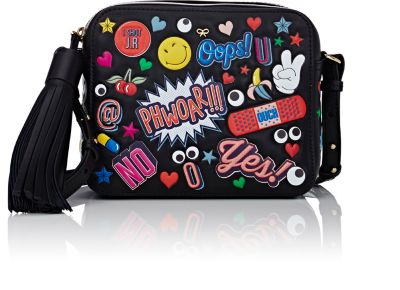 ANYA HINDMARCH Crossbody All Over Wink Stickers Bag In Black Circus Leather at BARNEYS