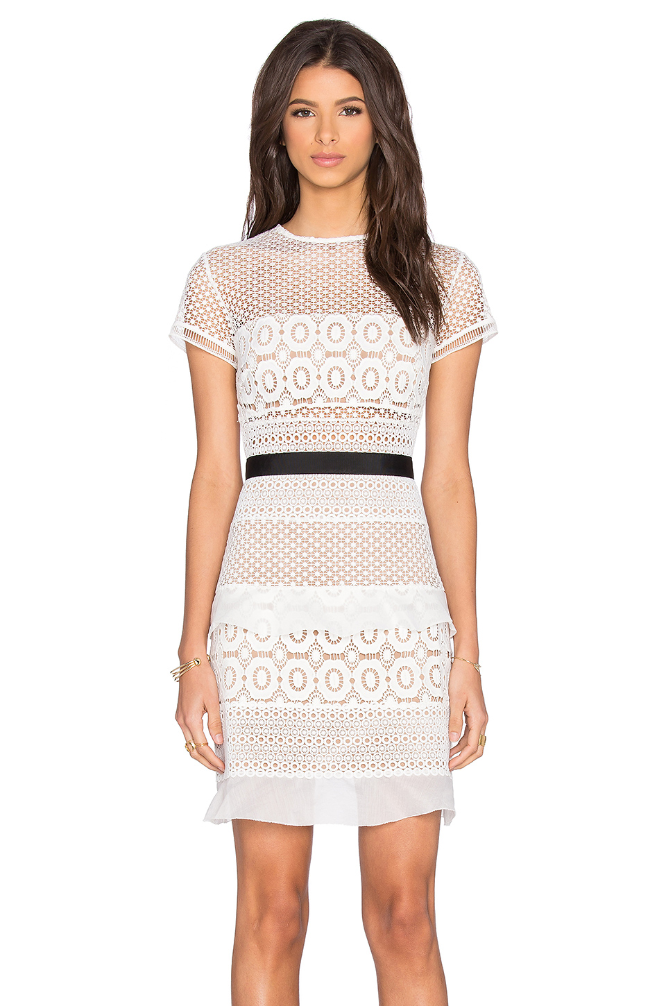 SELF-PORTRAIT Striped Floral Lace Mini Dress, White/Black at REVOLVE