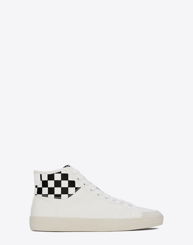 SAINT LAURENT Signature Court Classic Surf Sl/37M Sneaker In Off White And White And Black Checker Printed Distres