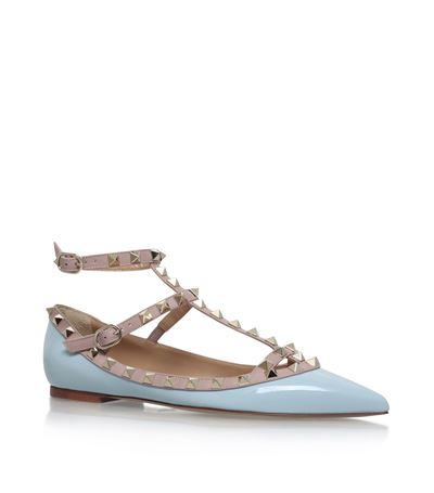 VALENTINO Rockstud Patent Leather Cage Flats at Harrods