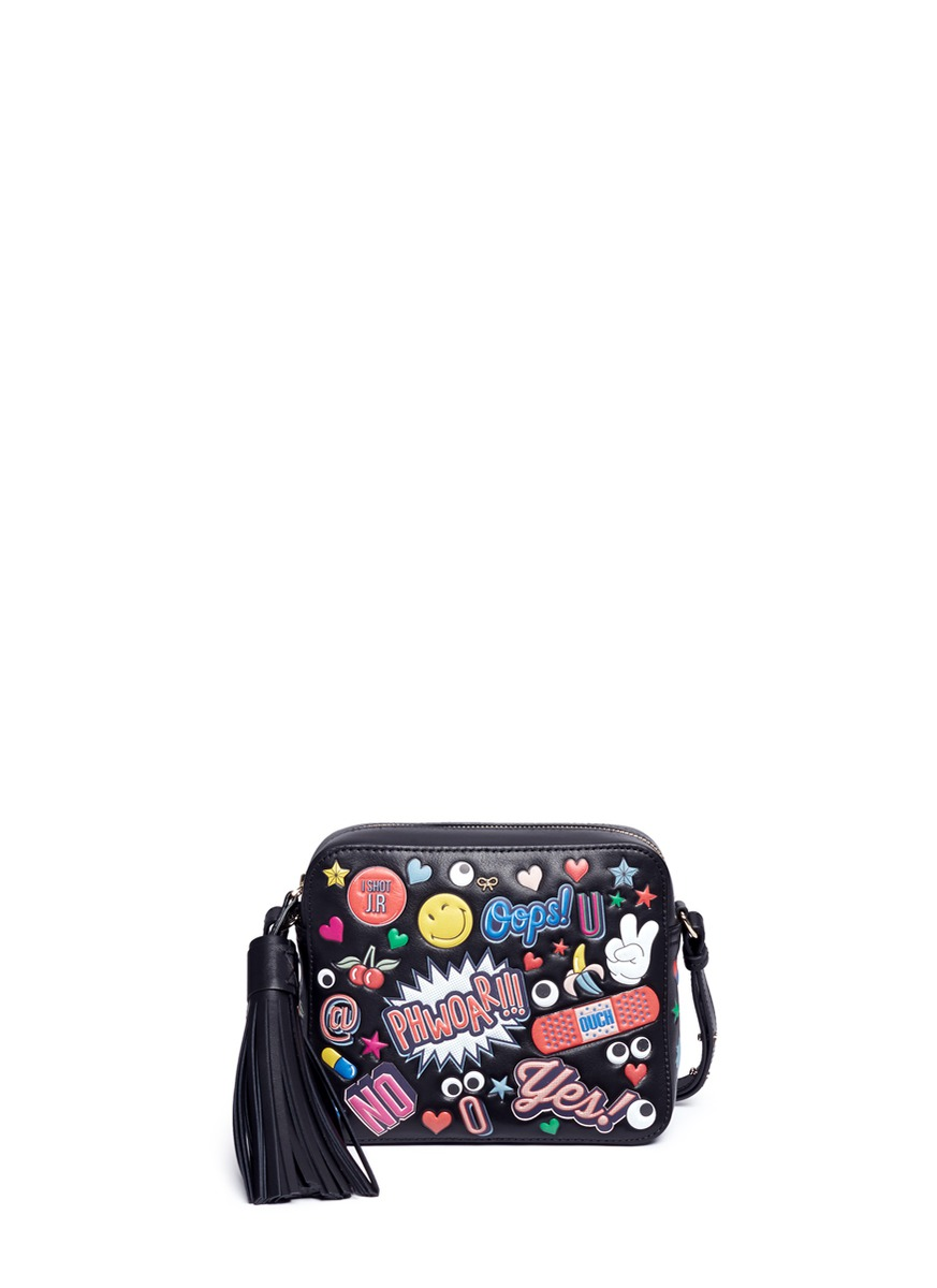 ANYA HINDMARCH Crossbody All Over Wink Stickers Bag In Black Circus Leather at Lane Crawford