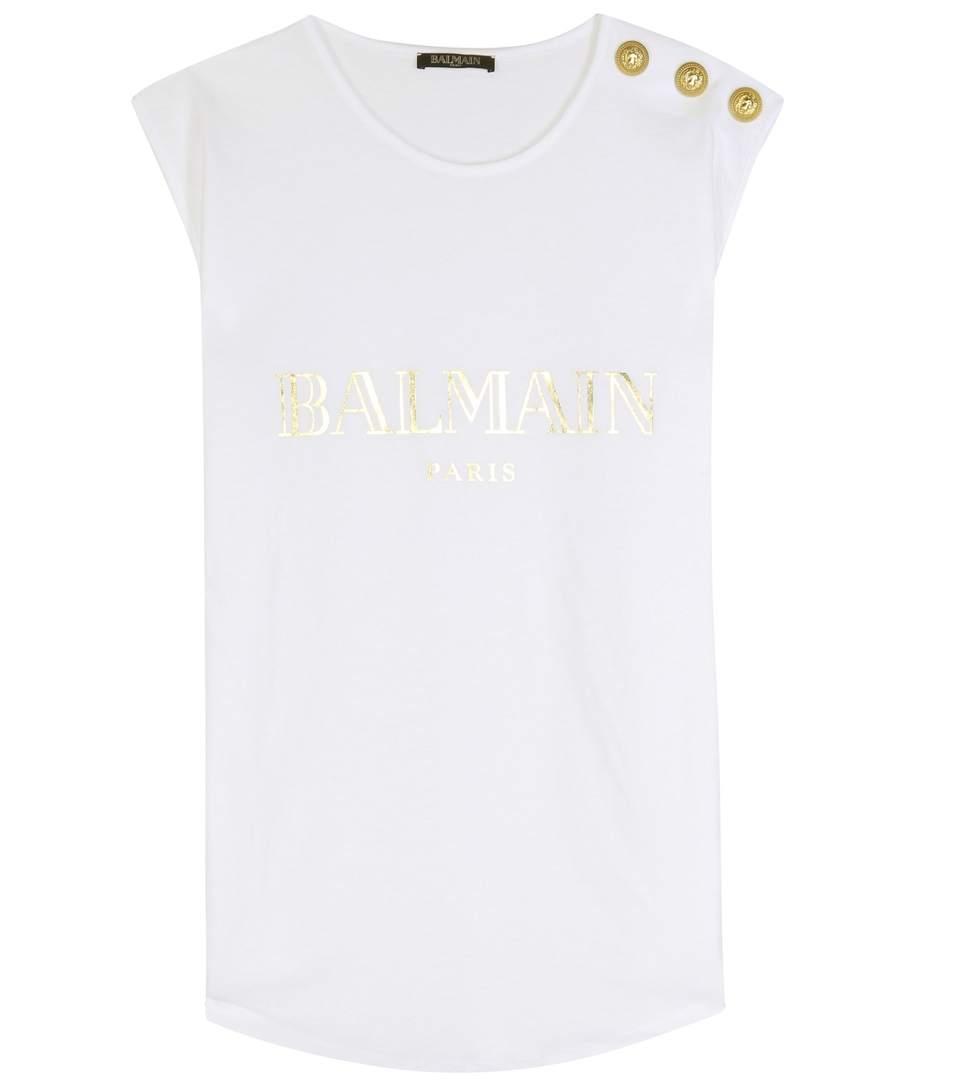 BALMAIN Logo Cotton Jersey Sleeveless Top, White at mytheresa.com