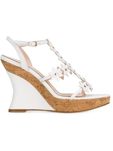 OSCAR DE LA RENTA Floral Laser-Cut Leather Wedge Sandals in White