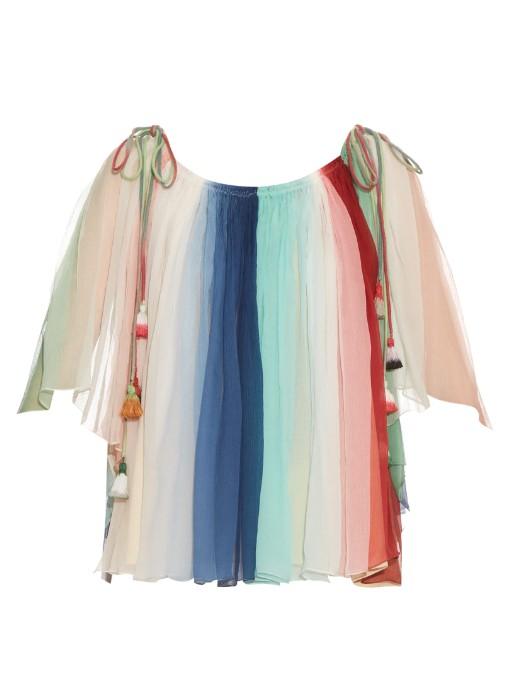 CHLOÉ Tassel Drawstring Rainbow Silk Crépon Off-Shoulder Top