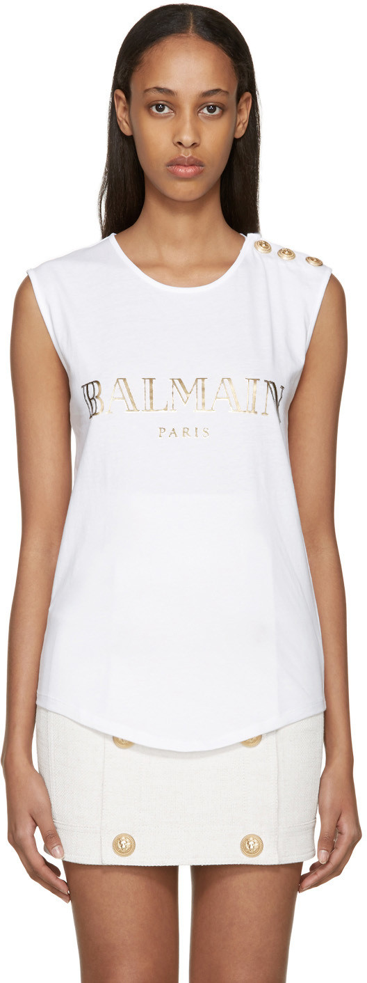 BALMAIN Logo Cotton Jersey Sleeveless Top, White at SSENSE