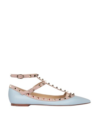 VALENTINO Rockstud Patent Leather Cage Flats at L'INDE LE PALAIS