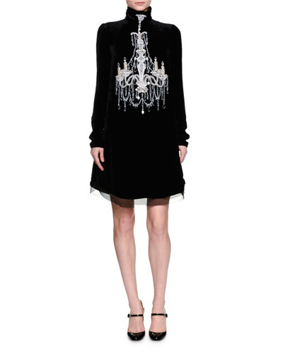 DOLCE & GABBANA Mock-Neck Embellished-Chandelier Dress, Black