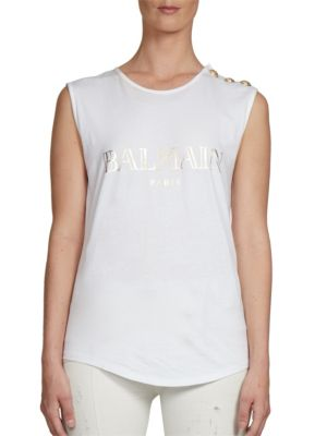 BALMAIN Logo Cotton Jersey Sleeveless Top, White at Saks Fifth Avenue