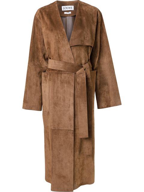 LOEWE Brown Suede Belted Coat at Farfetch
