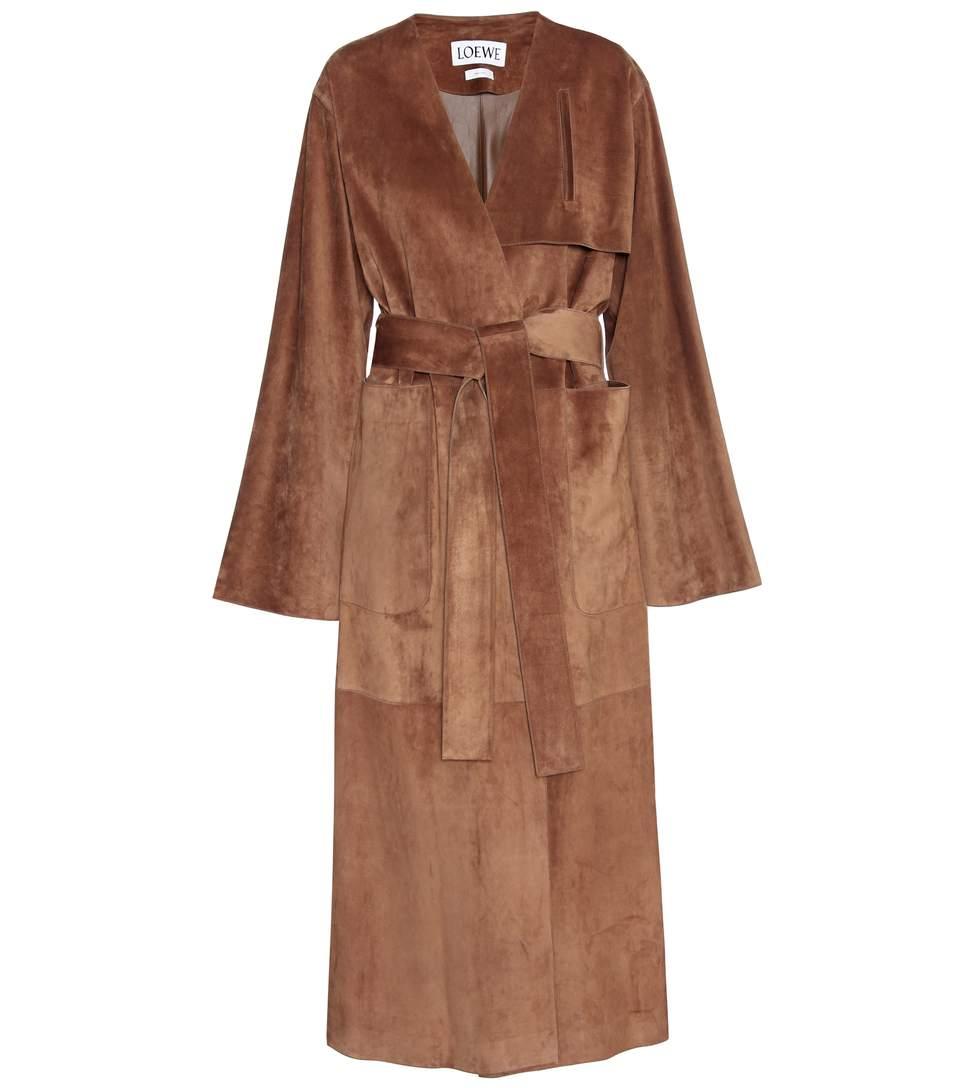 LOEWE Brown Suede Belted Coat at mytheresa.com