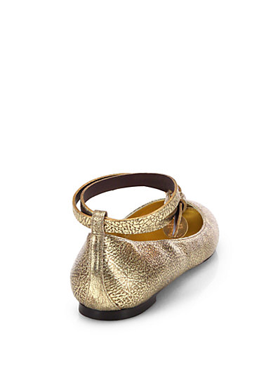 ALEXANDER MCQUEEN Skull Ankle Strap Leather Ballerina Flats in Gold