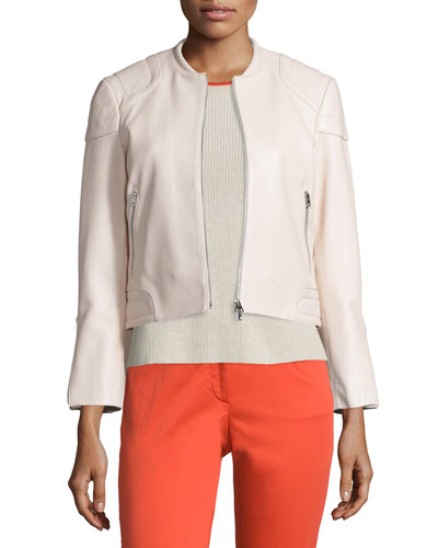 RAG & BONE Astor Leather Zip-Front Jacket, Blush, Ivory at CUSP