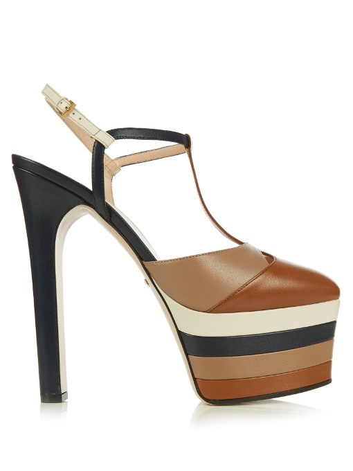 GUCCI Angel Colorblock Leather Platform Pump, Cuir/Rose/Blue/White at MATCHESFASHION.COM