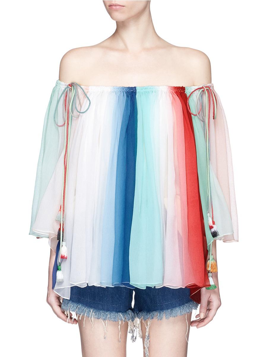 CHLOÉ Tassel Drawstring Rainbow Silk Crépon Off-Shoulder Top at Lane Crawford