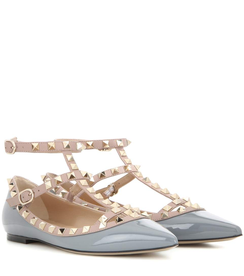 VALENTINO Rockstud Patent Leather Cage Flats at mytheresa.com