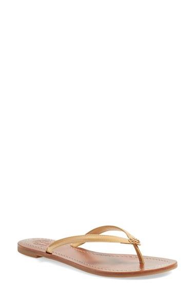 TORY BURCH Terra Gold Dress Mirror Metallic Leather Thong Sandal in Sun Beige Patent